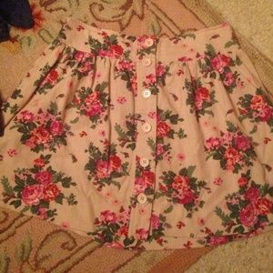 Floral button front skirt