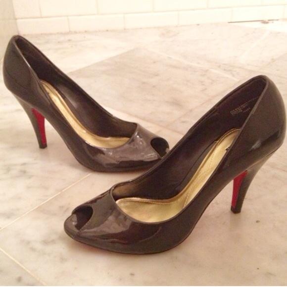 a6c3b0d5c52 Dark Brown Patent Peep Toe Heels. M 5596e815c402ae7efb00482b