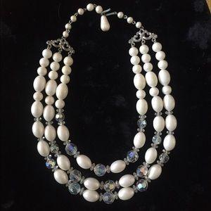 VTG 3-Strand Necklace White & Crystal Beads 💕HP💕
