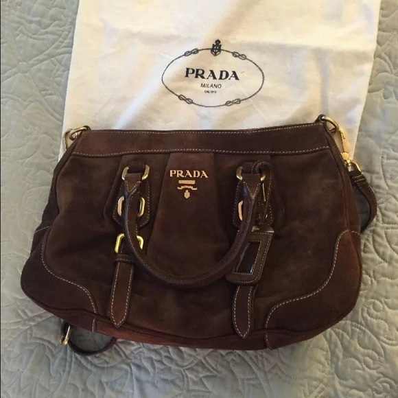 873a1f27e8 ... get prada handbags on poshmark. prada brown suede 20cb4 9d55b