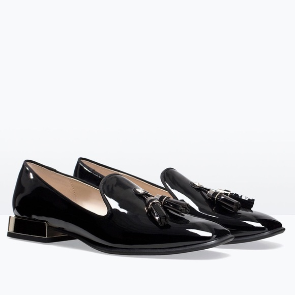 zara zara patent slip on tuxedo shoes nwob from zippers