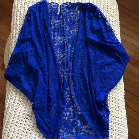 24% off Tops - ❌SOLD❌ Royal Blue Lace Kimono Cardigan from ...