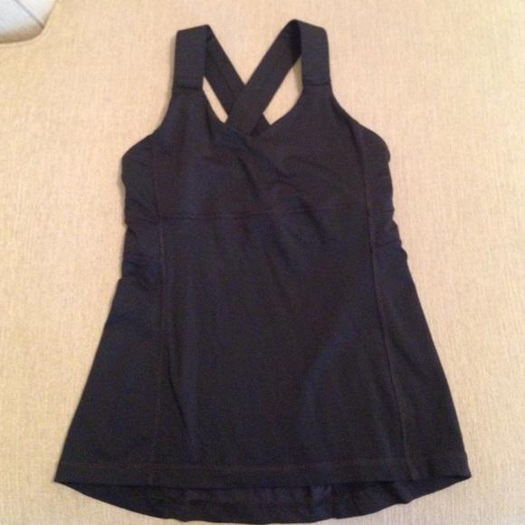 bac70b3d80 lululemon athletica Tops - Lululemon cross back tank black built in bra