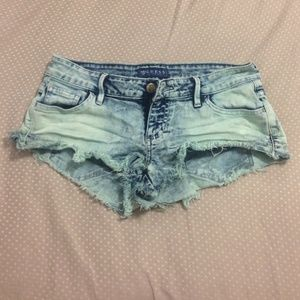 Blue/Teal Acid Wash Short Shorts from Guess