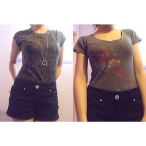 Acid wash top and floral top