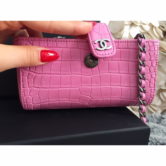bcce788f86ad Chanel Small pink alligator clutch bag w chains.