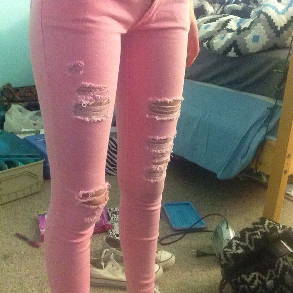 25% off Pants - pink ripped skinny jeans from Kylee's closet on ...