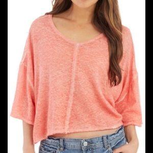 Free People Pink Kim's Top - Crop w/ Back Slit - L