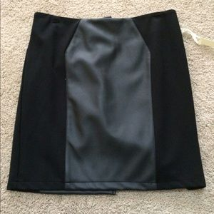 Black leather panel skirt NWT
