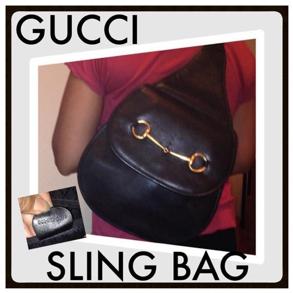 d5b01b877a9 Gucci Handbags - Vintage GUCCI Horsebit Black Leather Sling Bag!