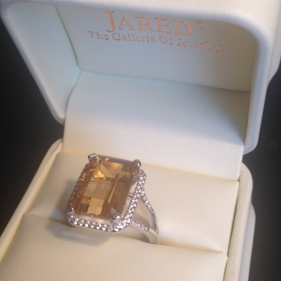 jareds Jewelry Citrine And Diamond Sterling Silver Ring Poshmark