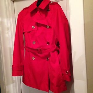 Anne Klein trench coat in red