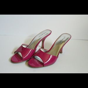b06bf703a36c Kelly   Katie Shoes - Fuschia patent peep toe slip-on sandals sz11