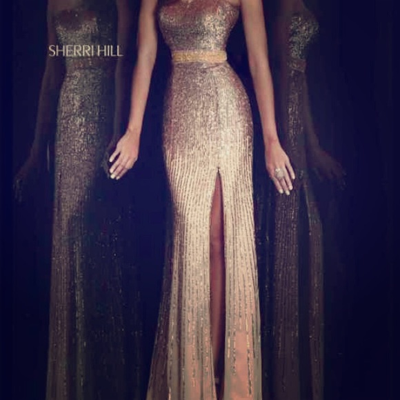 Sherri Hill Dresses Goldchampagne Prom Dress Poshmark