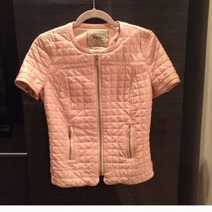 Pink Quilted Short Sleeve Faux Leather