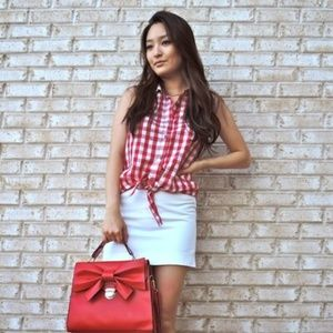 velvet heart Tops - Red and white checkered tank with tie front