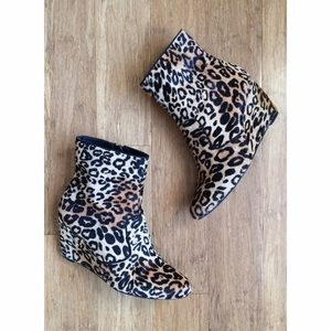 ALDO Cheetah Print Calf Hair Wedge Booties