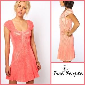Free People Dresses & Skirts - Free People Neon Pink Coralish color ribbed Dress