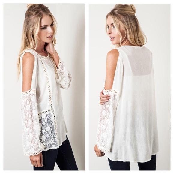 311009f4d46356 Essential White Open Cold Shoulder Floral Lace Top.  M 552670ec8f0fc46099006b48