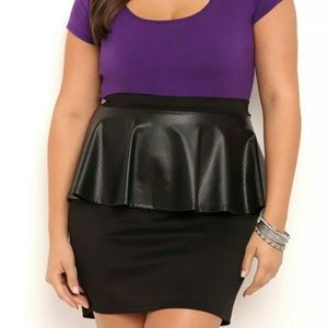 Peplum Skirt w/ Faux Leather