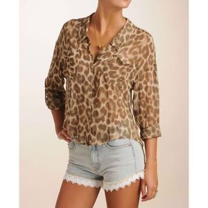 Free People Tops - Free People Leopard Blouse