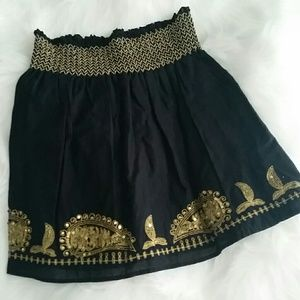 Dresses & Skirts - Black Gold Sequined Skater Skirt