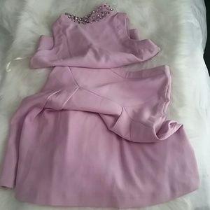 2-Piece Rhinestone Crop Top with Skirt