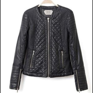 Zara Trafaluc Diamond Quilted Faux Leather Jacket