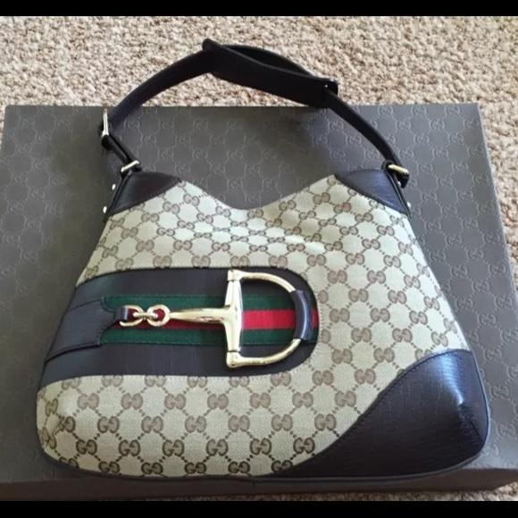 28389620c37 Gucci Handbags - Gucci Monogram Web HASLER Horsebit Hobo Purse