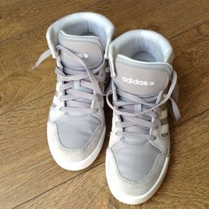 gold adidas neo high tops