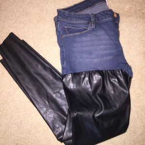 Zara Denim leather pants