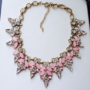 Crystals pink statement necklace