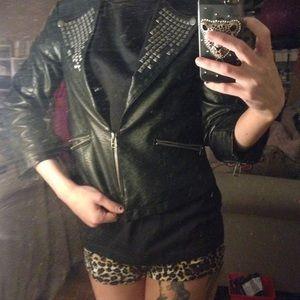 Black studded leather quarter sleeve blazer