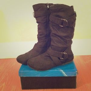 Traffic Boots - Black Suede High Calf Boots