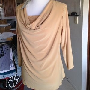 Jaclyn Smith Tops - Gold Cowl Neck Blouse