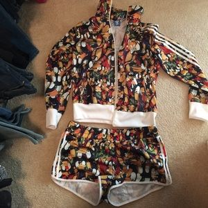Adidas penguin track short suit