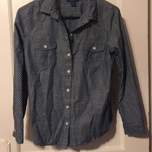 Old Navy Polka-Dot Chambray Button-up