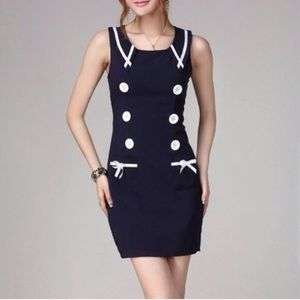 "CLEARANCE ""Sailor"" Nautical Faux Button Dress"