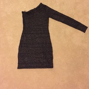 One sleeve black lined dress