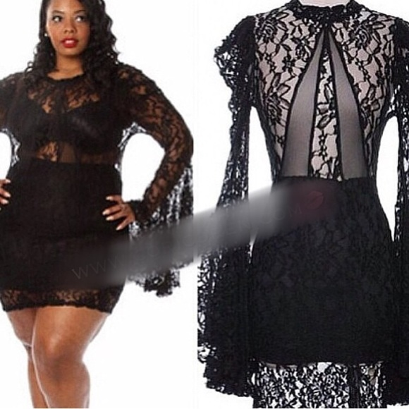 Plus size black lace dress « Clothing for large ladies