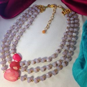 David Aubrey Lilac Pink Statement Necklace