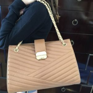 CHANEL Accordion Brown Bag w/ golden hardware NWT