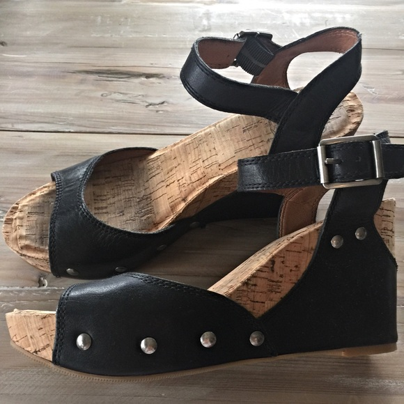 1b835cf09 Lucky Brand Shoes - Lucky Brand Black Leather & Cork Wedge Sandals 7.5