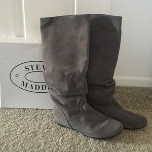 Steve Madden Gray leather Suede Tianna boots