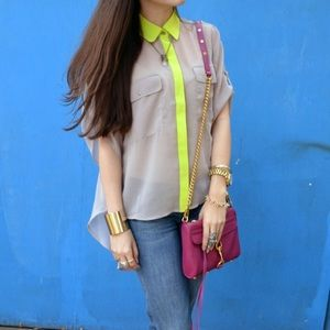 Lush Tops - Neon Accent Flowy Blouse