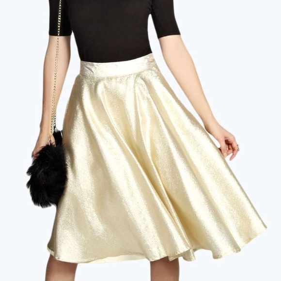 Boohoo - Metallic gold a-line midi skirt from ! lucy's closet on ...