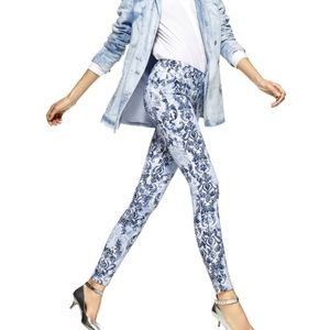 Scroll Print Denim Leggings