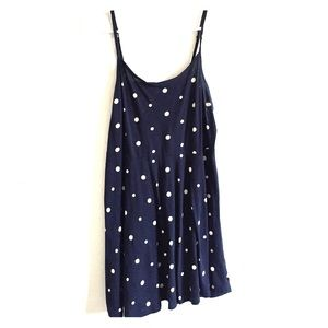 Navy blue dress with polka dots