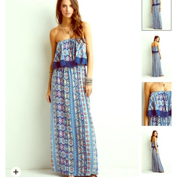 84b2ed365d0d BOHO Chic Summer Maxi Dress Long Ruffle Blue Med