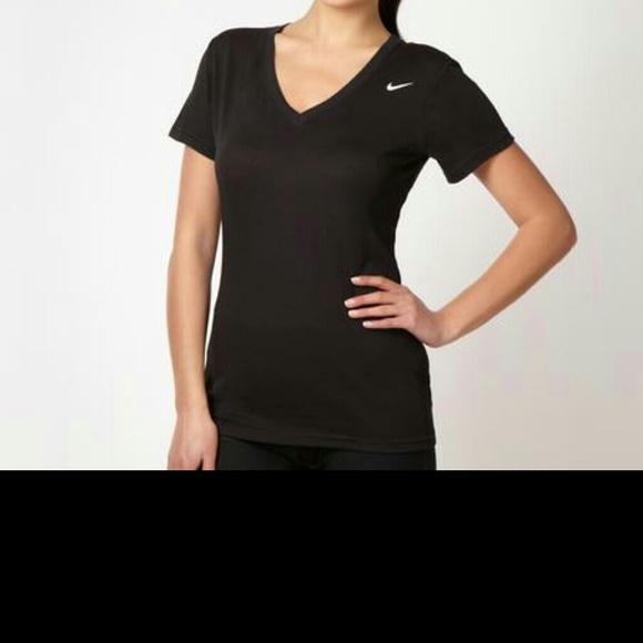 6d4ce9f0 Nike Tops | Drifit V Neck T Shirt In Black Sz L Nwt | Poshmark